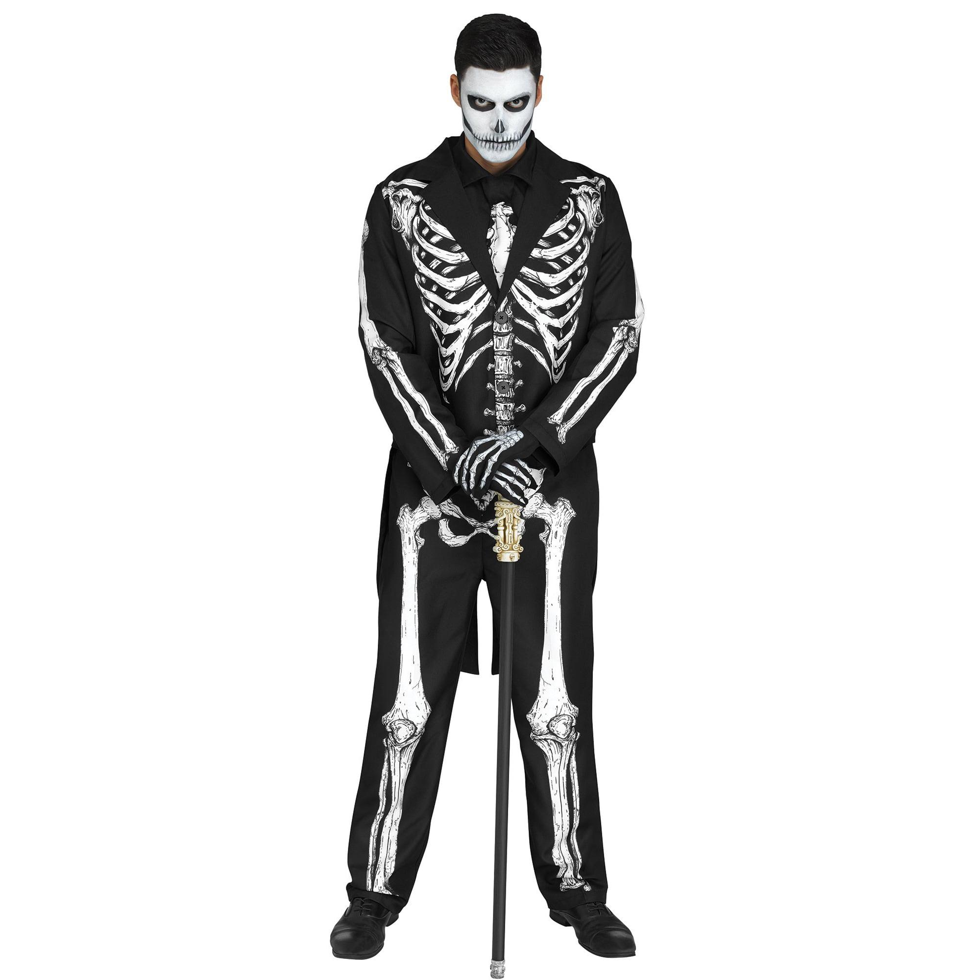 Black /& Bones Hoodie Skeleton Bones Top Halloween Mens Fancy Dress Costume