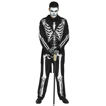 Black And White Costume (Fun World Mr. Bones Skeleton Suit 5pc Men Costume, One-Size, Black)