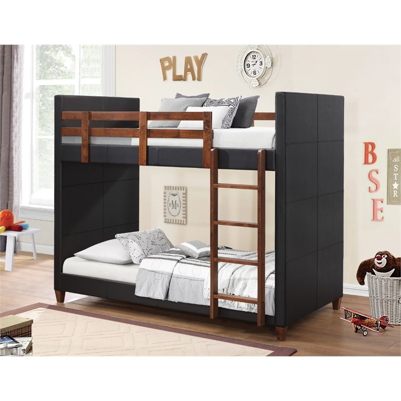 Coaster Diego bunk bed, twin over twin, upholstered in black leatherette with solid wood rails and ladder finished in nutmeg.