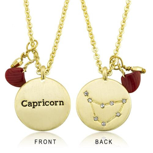 18k Goldplated Zodiac Sign Crystal Constellation and Garnet Quartz Birthstone Necklace Cancer