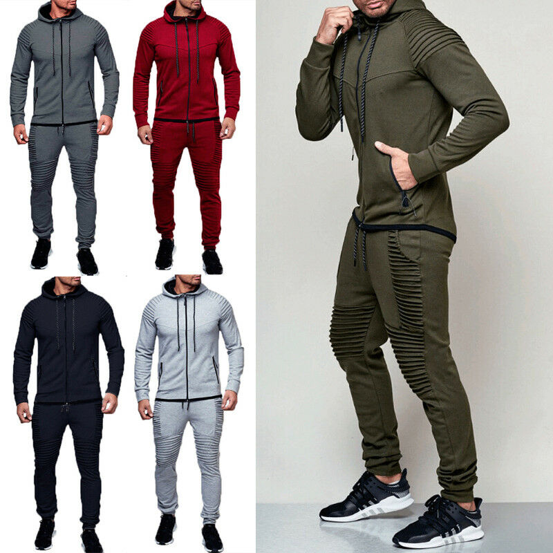 Trousers Pants Sports Sweat Suit Set Mens Tracksuit Jogging Hoodie Coat Jacket