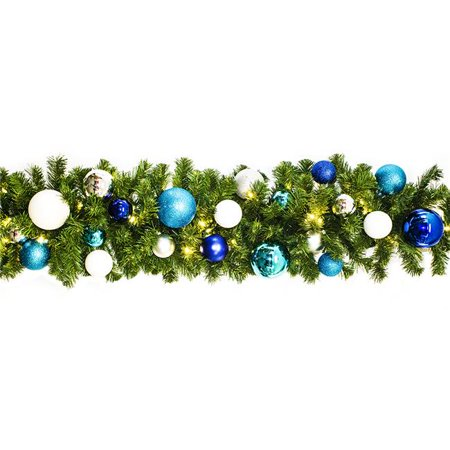 Winterland WL-GARBM-09-ARTIC-LWW Prelit Warm White LED Blended Pine Garland Decorated - Winterland Theme
