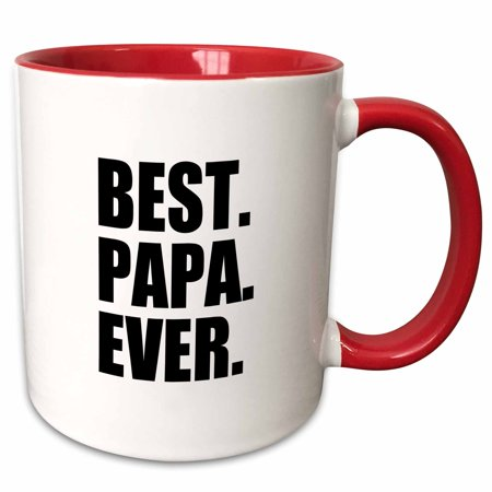 3dRose Best Papa Ever - Gifts for dads, Father nicknames, Fathers Day - black text - Two Tone Red Mug,