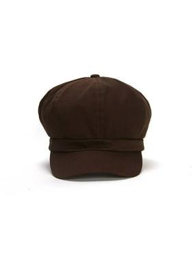 Cotton Elastic Newsboy Cap - Brown