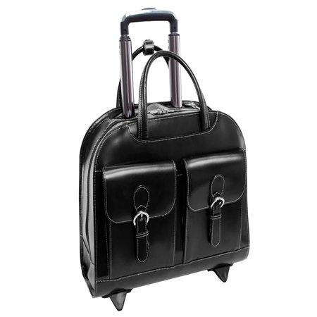 Solo 15.4 Leather Laptop - McKlein USA Davis Wheeled Ladies Laptop Case - Black