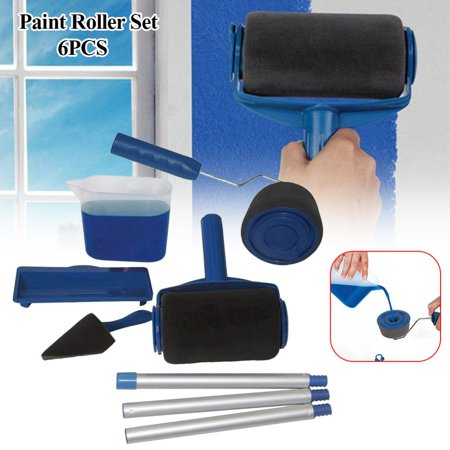 Paint Runner Roller Kit Pro Roller Brush Handle Tool Flocked Edger Room Wall Painting For Home Office Room Garden Multifunction Roller Paint Brush Set