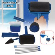 Paint Runner Roller Kit Pro Roller Brush Handle Tool Flocked Edger Room Wall Painting for Home Office Room Garden Multifunction Roller Paint Brush Set (6 Pack)