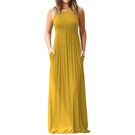 JustVH Women's Sleeveless Loose Tank Maxi Dress Casual Long Dresses With Pockets