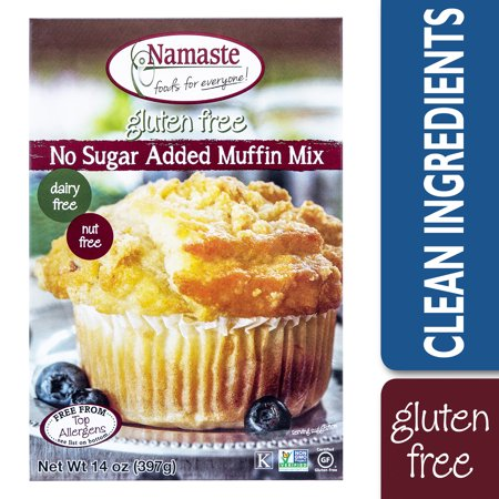 Namaste Foods Gluten Free No Sugar Added Muffin Mix, 14 (Sugar Topping Muffins)