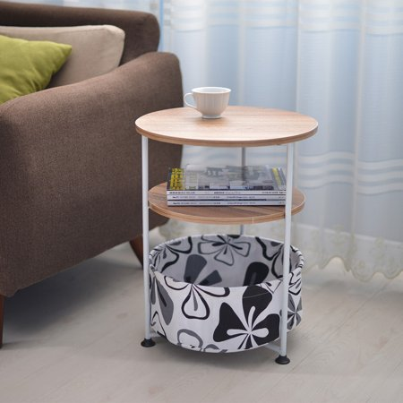 Three-tier Round Side Table With Fabric Storage End Table Bedroom Bedside Table