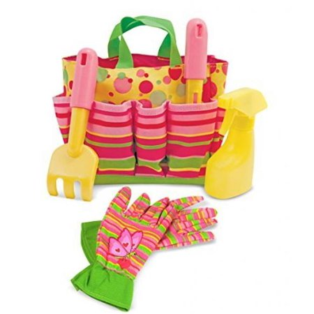 Melissa And Doug Little Gardener Bundle   Melissa And Doug Sunny Patch Blossom Bright Tote Set With Bella Butterfly Gardening Gloves   For Ages 3 And Up