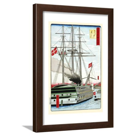 Danish Black Ship Off Shinagawa. Framed Print Wall Art By Hiroshige Utagawa - Ship To Denmark
