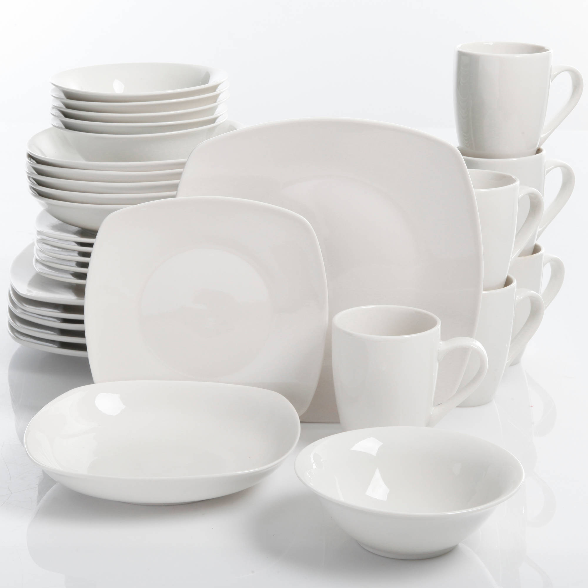 30-Piece Porcelain Dinnerware Set Square Dinner Plates Dish Service For 6 White : dinnerware service for 6 - pezcame.com