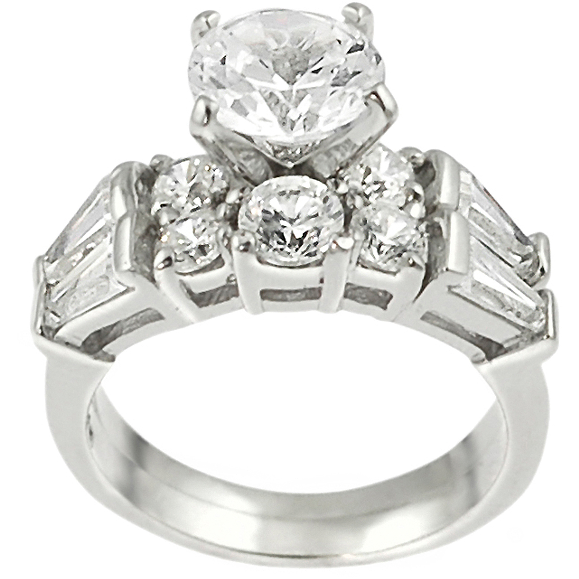 Alexandria Collection Sterling Silver Baguette Cubic Zirconia Bridal Ring Set