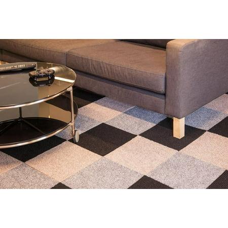 IncStores Berber Carpet Tiles 20 Tiles (20 Sqft) Peel and Stick Gunmetal (20 (33 Mexican Sand Tile)