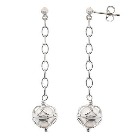 Pearlyta Sterling Silver Colored Freshwater Pearl Dangle Earrings (8-9mm)- Chocolate color