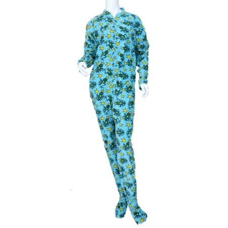 Joe Boxer Womens Blue Fleece Frog Prince Footie PJ Blanket Sleeper Pajama