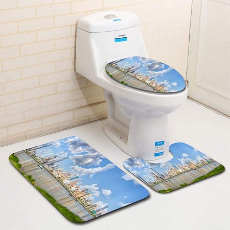 XDDJA Bund Panorama 3 Piece Bathroom Rugs Set Bath Rug Contour Mat and Toilet Lid Cover - image 1 de 2