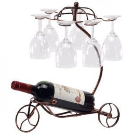 - Wine Bottle & Glass Cup Holder Bicyle design Bronze tabletop wine rack, Great gift!! Wine cup display