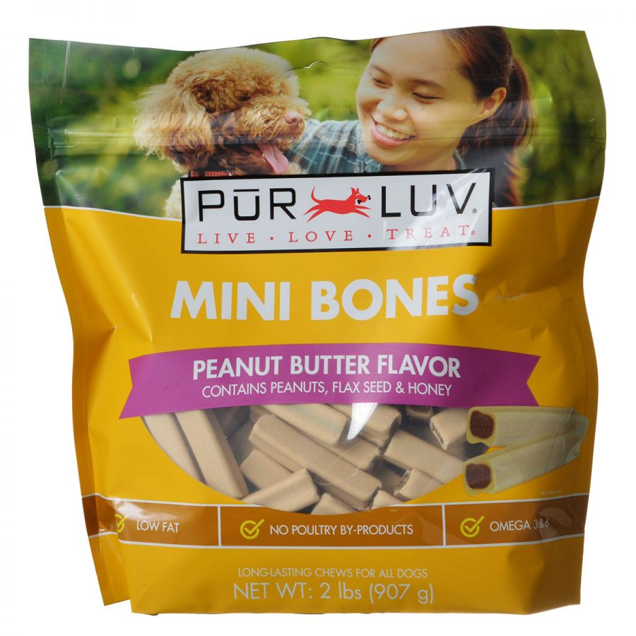 Pur Luv Mini Bones Peanut Butter Flavor Dog Treats 60 Pack - Pack of 10