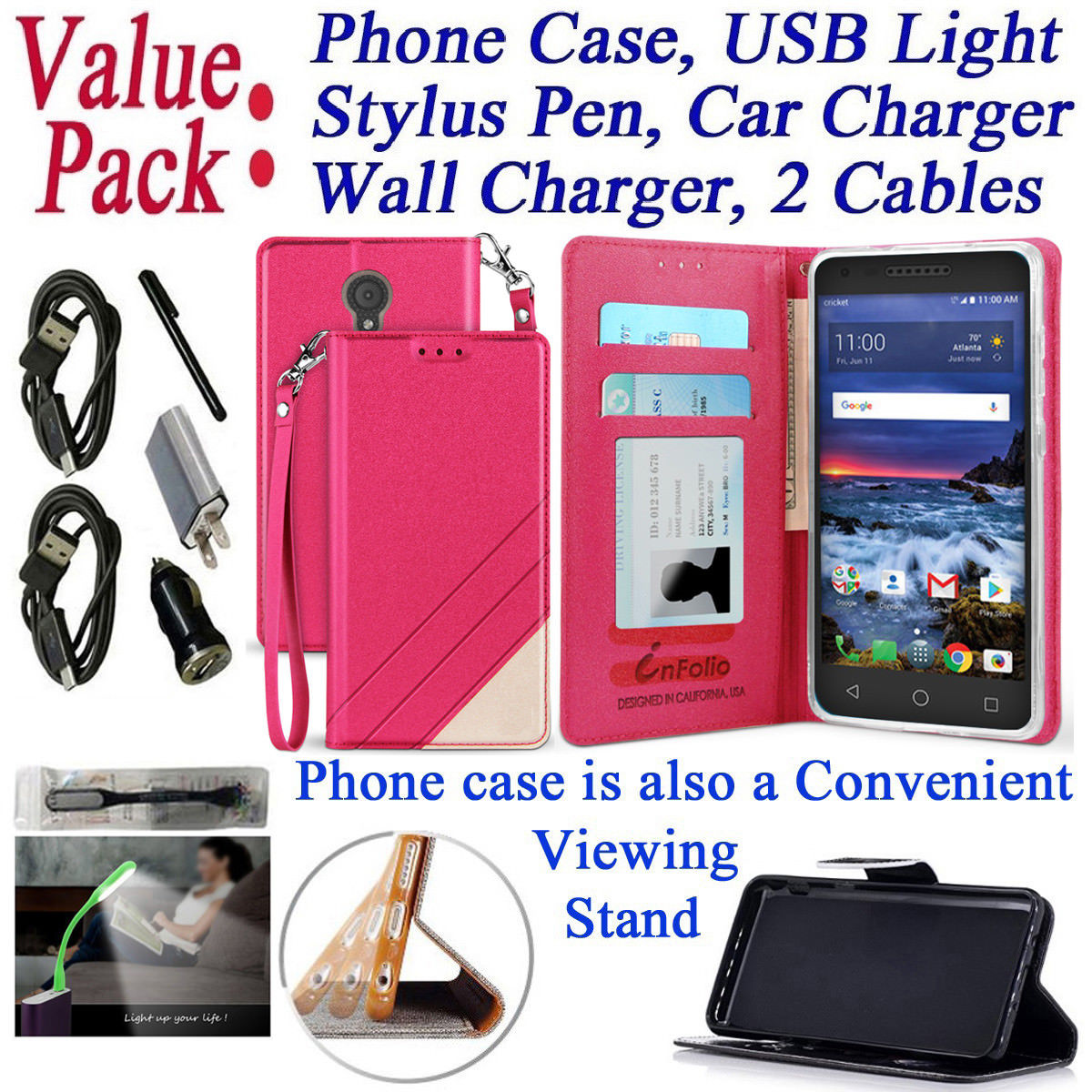 """Value Pack + for 5"""" Alcatel Cameo X IdealXcite VERSO Case Wallet Phone Case Kickstand Hybrid Pocket Pouch Textured Purse Screen Flip Cover Rose"""