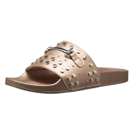Report Womens Gamila Flat Slide Sandal Rose Gold Studded Buckle Size 7 M US ()