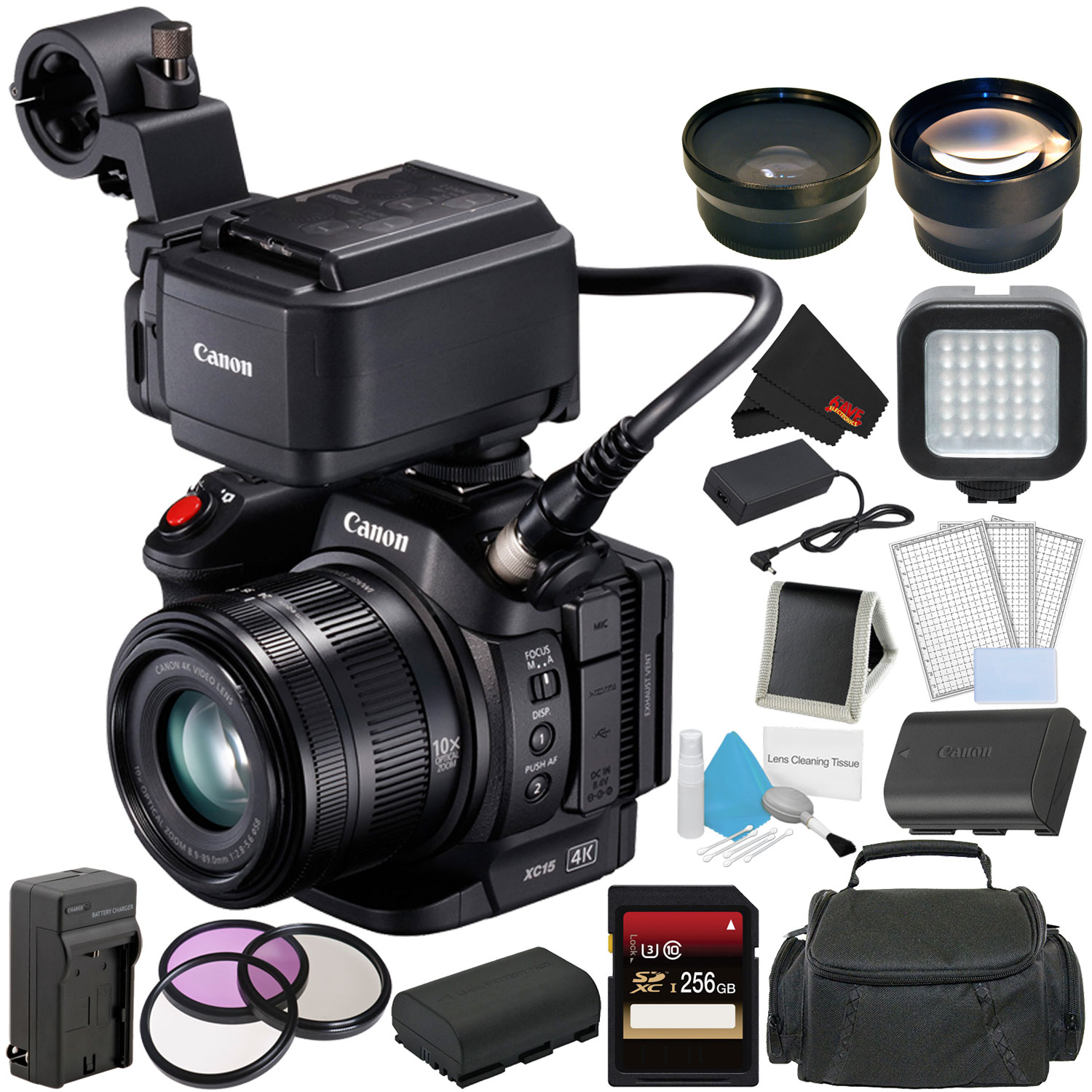Canon XC15 4K Professional Camcorder Bundle with 256GB Memory Card + Spare Battery + Spare Charger + Wide Angle Lens + Carrying Case + More