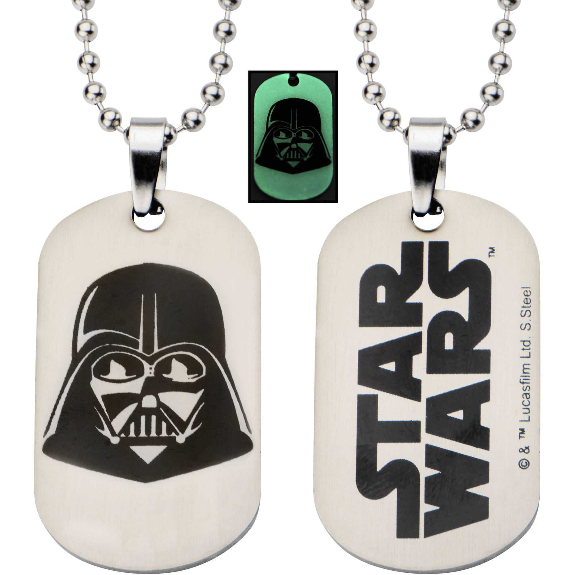"""Star Wars Kids' Stainless Steel Glow-in-the-Dark Darth Vader Dog Tag Pendant, 16"""" Chain"""