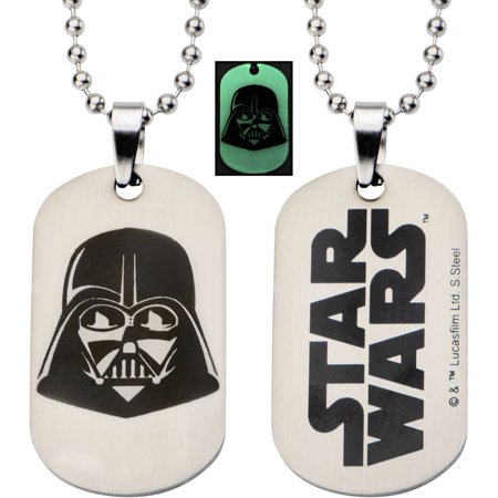 Star Wars Kids' Stainless Steel Glow-in-the-Dark Darth Vader Dog Tag Pendant, 16