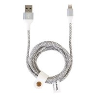Blackweb Sync & Charging Cable with Lightning Connector and Attached Organizer, 6-Foot, Gray/White