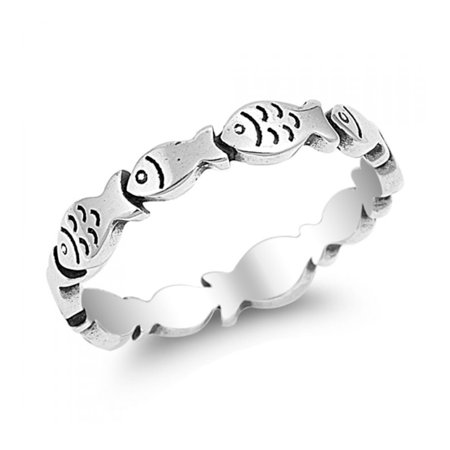 925 Sterling Silver Little Fish Ring - Fish Flingers