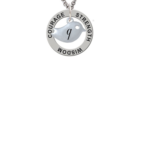 Little Bird Initial - Q - Strength Wisdom Courage Affirmation Ring Necklace