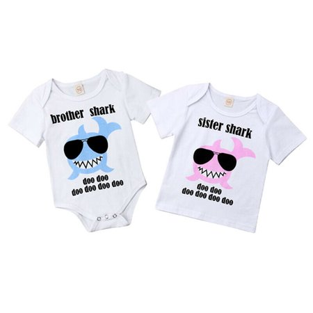 Big Sister Little Brother Matching Newborn Kid Baby Boy Girl Romper T-shirt Outfits Clothes