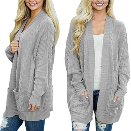 29d2d599c56 Fortressmount - Womens Plus Size Knit Texture Casual Loose Open Front  Cardigan Sweaters Pocket, Gray - Walmart.com