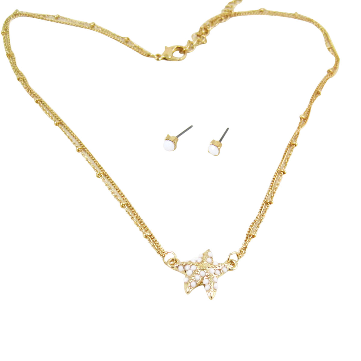 Starfish Double Chain Necklace Earrings Set Pearl White