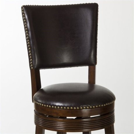 Bowery Hill 26 Quot Faux Leather Swivel Counter Stool In Brown