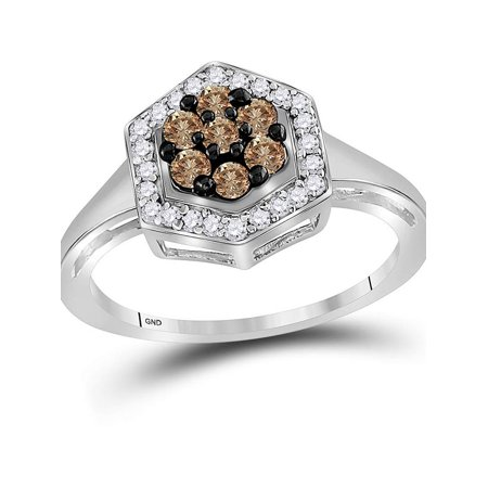 10kt White Gold Womens Round Cognac-brown Color Enhanced Diamond Polygon Cluster Ring 1/2 Cttw - image 4 de 4