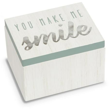 Pavilion - You Make Me Smile - Aqua & White Wood Patterned Mini Keepsake Jewelry Box 2.25 (Best Wood To Make Planter Boxes)