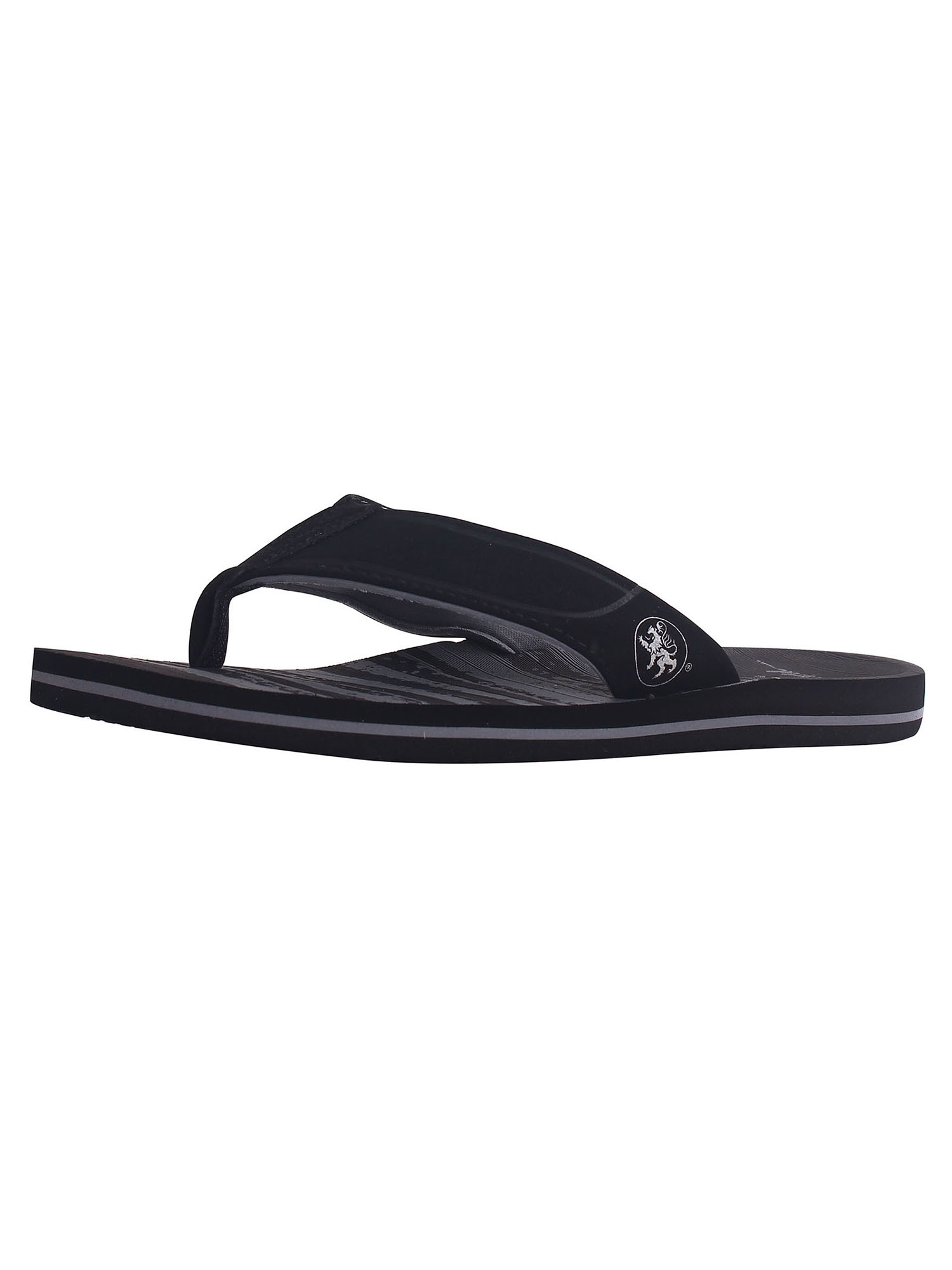 Men's Athletic Strap Poolside Casual Beach Flip Flop Sandals, Black/Grey, 9