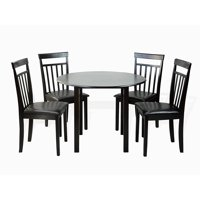 Dining Kitchen Set of 5 Piece Round Table and 4 Classic Solid Wood Warm Chairs, Espresso
