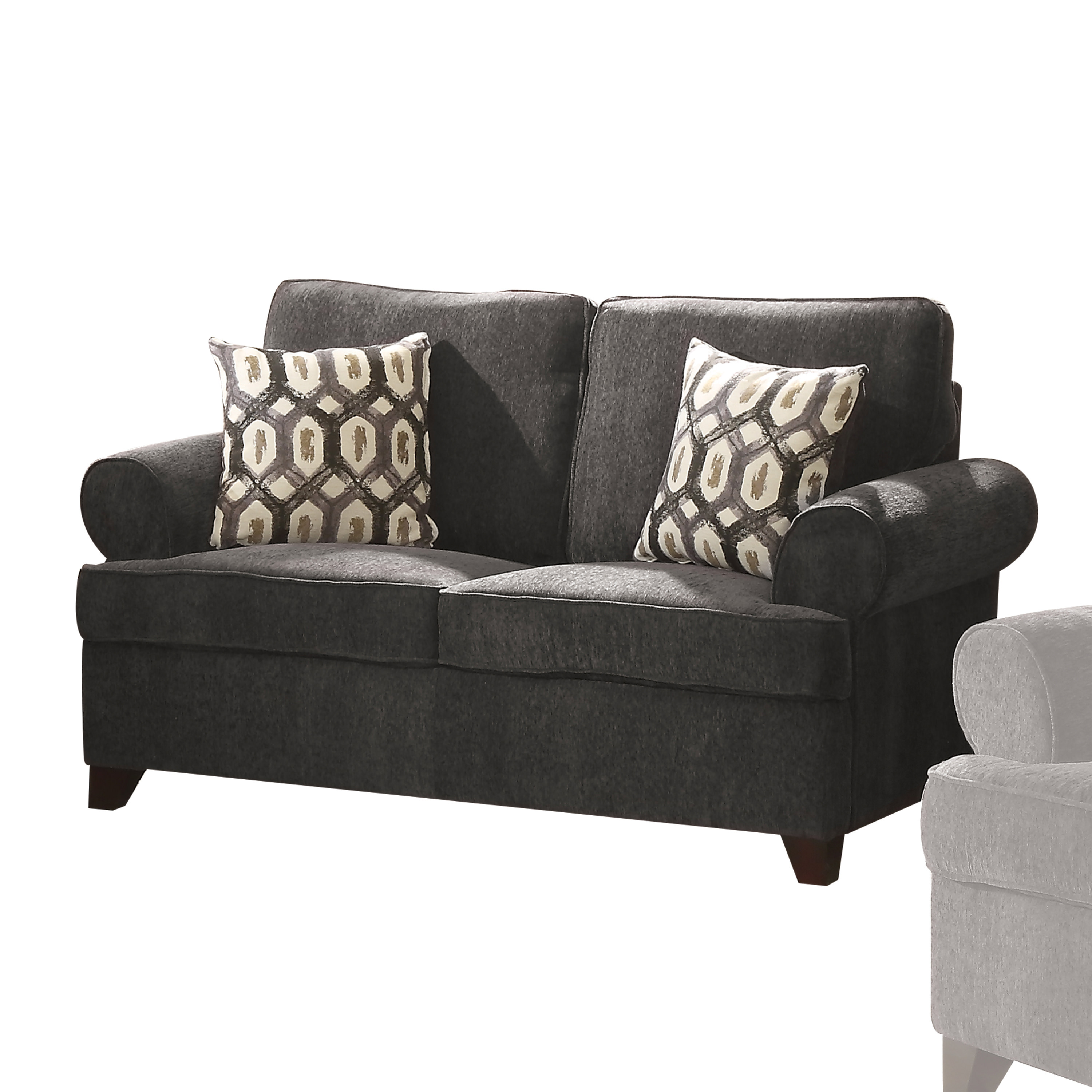 Acme Alessia Dark Gray Chenille Loveseat Sleeper with 2 Pillows