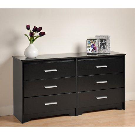 prepac coal harbor 6 drawer dresser in black. Black Bedroom Furniture Sets. Home Design Ideas