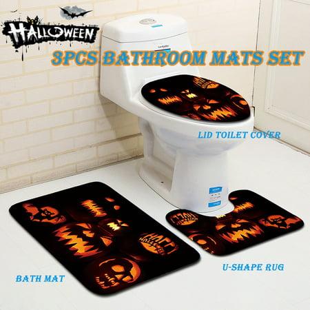 Pleasant Halloween Pumpkin Toilet Seat Cover And Rug Bathroom Set Lamtechconsult Wood Chair Design Ideas Lamtechconsultcom