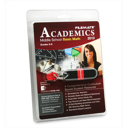 FileMate Academics Middle School Basic Math 2010 2GB USB Drive Educational Software