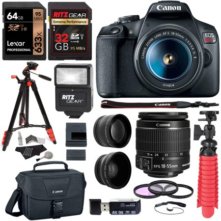 Canon Eos 1d Flash Memory - Canon EOS Rebel T7 24MP Camera with EF-S 18-55mm is II Lens, 2 Memory Cards, Slave Flash, 50