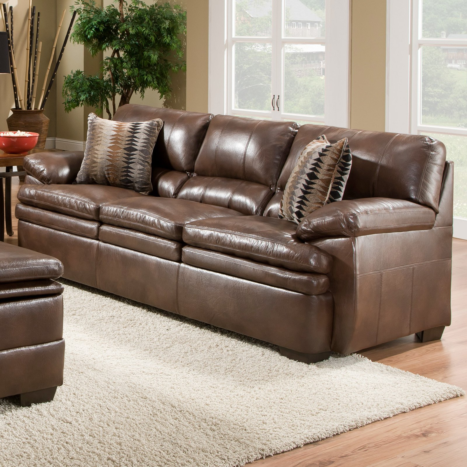 Simmons Upholstery Editor Bonded Leather Sofa   Brown
