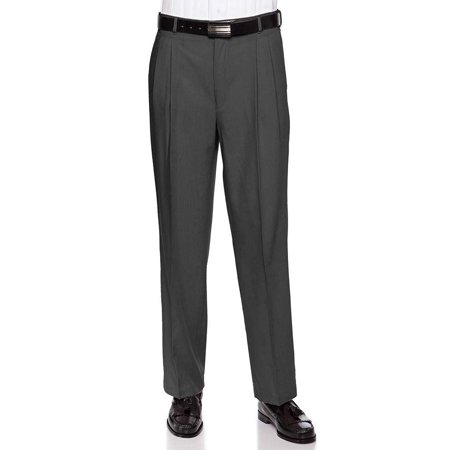 7a95c034 RGM Mens Pleated Front Dress Pants – Wool Blend Long Formal Pants for Men,  Made in US Charcoal 38 Short