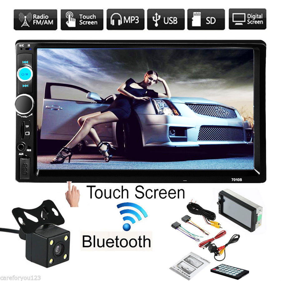 "7"" 1080P Bluetooth Touch Screen 2 Din Car Radio Stereo AUX FM USB SD MP5 Player with Rearview Camera + Remote Controller + Power Cable"