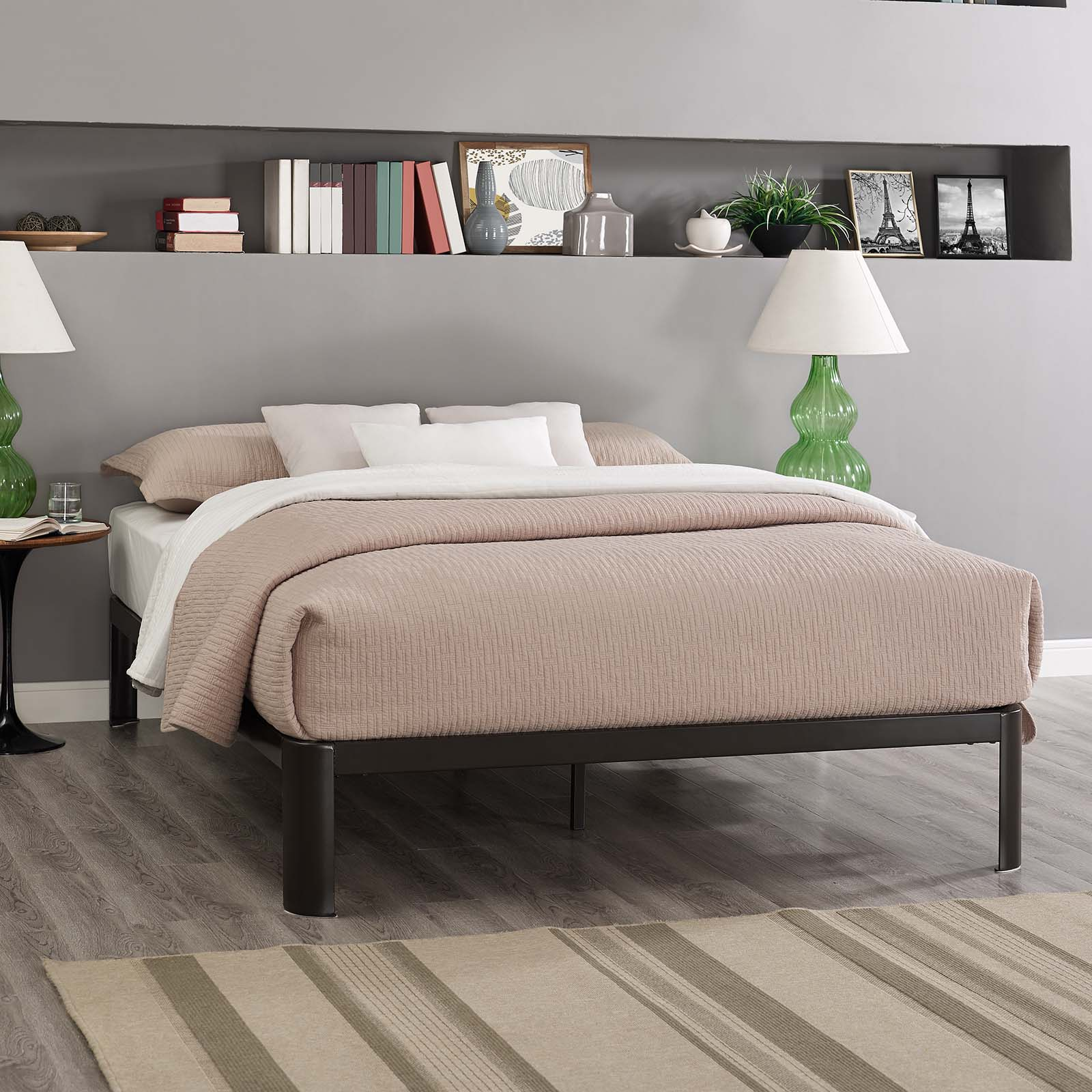 Modway Corinne Stainless Steel Bed Frame, Multiple Sizes and Colors