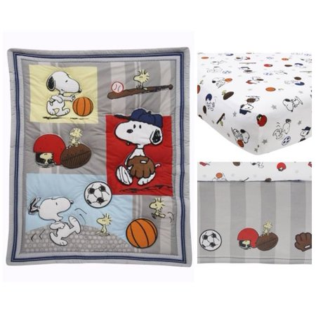 Retro Circles Crib Bedding - Bedtime Originals Snoopy Sports 3-Piece Crib Bedding Set